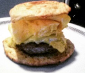 sausage, egg, and cheese on low carb biscuit