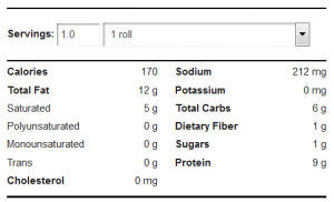 low carb bread nutritional label