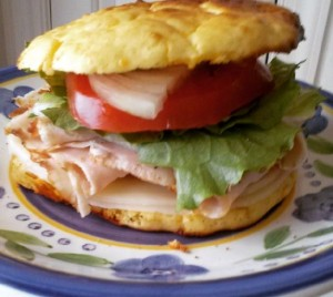 turkey club on low carb roll